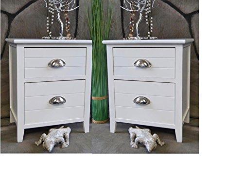 2 x Nachttisch Nachtschrank Landhaus Weiß 2 Schubladen Nachschränckchen Nachtkommode LV1031