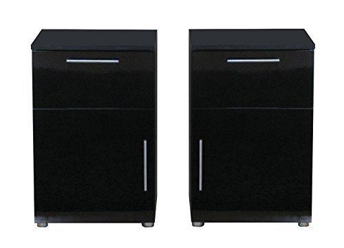 2x Nachttisch Infiniti Nachtschrank Nachtkonsole Nachtkommode schwarz hochglanz