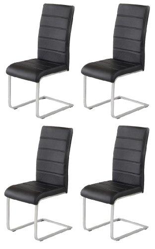 4 x design stuhl freischwinger piet 30 kunstleder schwarz