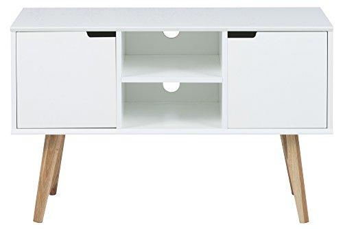 AC Design Furniture 60639 Anrichte Mariela, Türen 2 Stück, Boden 1 Stück Holz, 96 x 38 x 62,5 cm, weiß