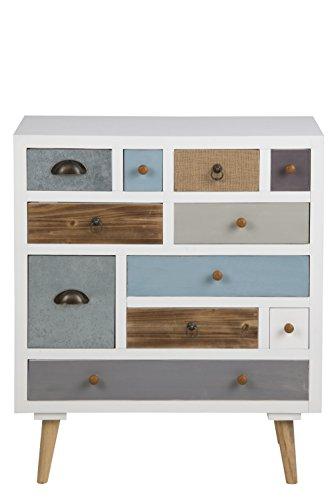 AC Design Furniture 63374 Kommode Suwen mehrfarbigen Schubladen, Beine Kiefernholz, klar lack, 11 Stück, weiß