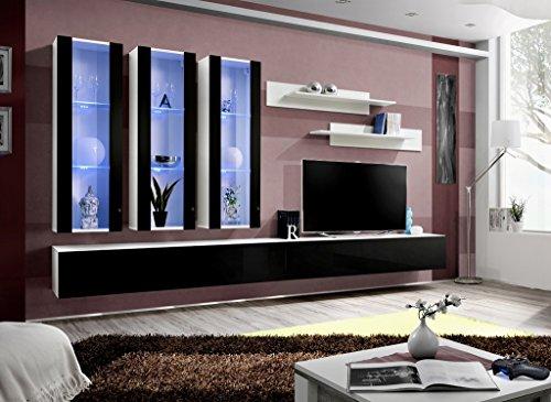 """BMF """"FLY E, Modern, Hochglanz Wohnzimmer/Schlafzimmer/STUDIO-Set, flach-Wohnwand/LED TV-Schränke & Böden GAMMA WHT/BLK"""