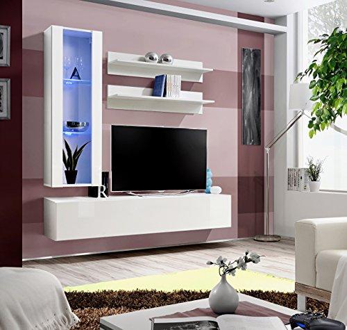"""BMF FLY """"H"""" Moderne Hochglanz Wohnzimmer/Schlafzimmer/STUDIO-Set, flach-Wohnwand mit LED TV STÄNDER Standfuss/Boxen & Wandbord-nur von BMF!!!!!!!!! GLZ WHITE"""