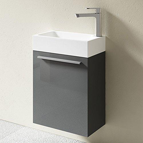 bth 46x26x63 cm design badm belset pisa in grau hochglanz bestehend aus waschbecken und. Black Bedroom Furniture Sets. Home Design Ideas