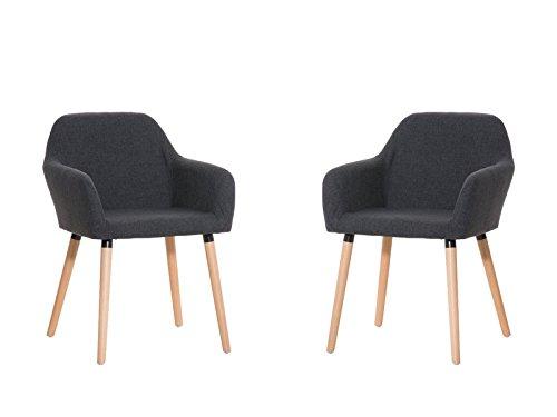 CLP 2x moderner Besucherstuhl ACHAT mit gut gepolsterter Sitzfläche aus Stoff und Holzgestell - aus bis zu 4 Farben wählen dunkelgrau