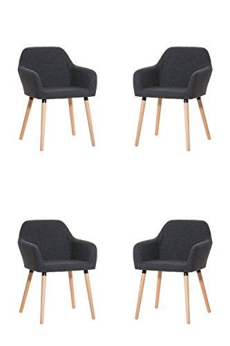 CLP 4x moderner Besucherstuhl ACHAT mit gut gepolsterter Sitzfläche aus Stoff und Holzgestell - aus bis zu 4 Farben wählen dunkelgrau
