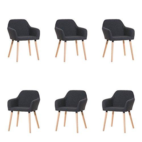CLP 6x moderner Besucherstuhl ACHAT mit gut gepolsterter Sitzfläche aus Stoff und Holzgestell - aus bis zu 4 Farben wählen dunkelgrau