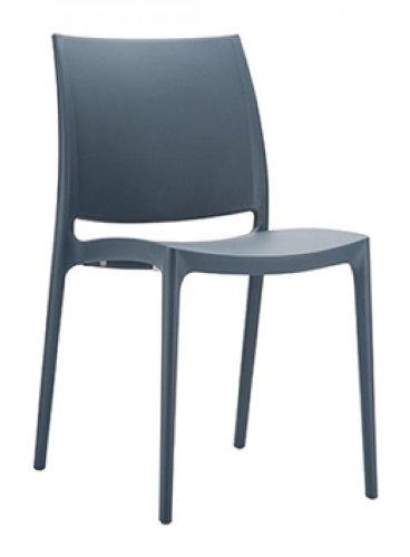 CLP Design Küchenstuhl, Stapelstuhl, Gartenstuhl MAYA, stapelbar, wasserabweisend, UV-beständig (bis zu 8 Farben wählbar) dunkelgrau