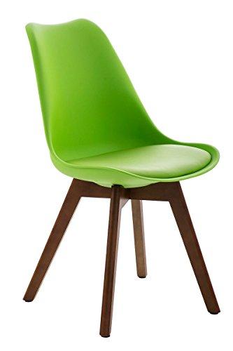CLP Design Retro Stuhl BORNEO mit Holzgestell walnuss, Materialmix aus Kunststoff, Kunstleder und Holz, bis zu 5 Farben wählbar grün