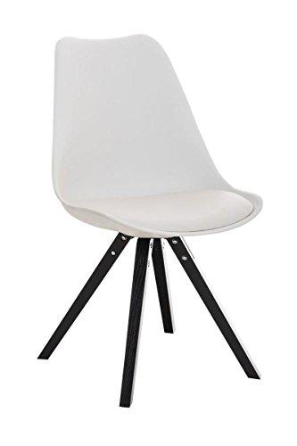 CLP Design Retro Stuhl PEGLEG SQUARE mit Holzgestell schwarz, Materialmix aus Kunststoff, Kunstleder und Holz, FARBWAHL weiß