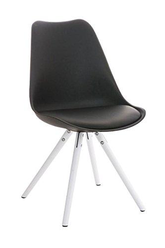 CLP Design Retro Stuhl PEGLEG mit Holzgestell weiß, Materialmix aus Kunststoff, Kunstleder und Holz, FARBWAHL schwarz