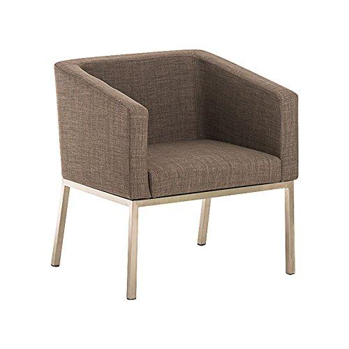 CLP Edelstahl Lounge-Sessel NALA Stoff im Retro-Stil, mit Armlehne, Polsterstärke 8 cm, bis zu 7 Farben wählbar, Sitzhöhe 44 cm grau