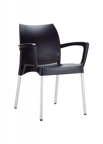 CLP Gartenstuhl, Küchenstuhl, Stapelstuhl DOLCE mit Armlehne, stapelbar, viele Farben wählbar schwarz