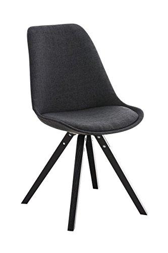 CLP Retro Stuhl PEGLEG SQUARE mit Holzgestell schwarz und Stoffsitz, Besucherstuhl im stilvollen Design, FARBWAHL dunkelgrau