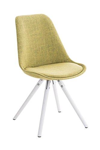 CLP Retro Stuhl PEGLEG mit Holzgestell weiß und Stoffsitz, Besucherstuhl im stilvollen Design, FARBWAHL grün