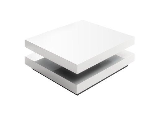 Couchtisch Hugo - Hochglanz weiß - obere Platte drehbar - Maße in B/H/T: ca. 75x75x30 cm
