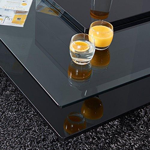 Couchtisch porto hochglanz lack glastisch loungetisch beistelltisch quadratisch schwarz - Wohnzimmertisch quadratisch ...