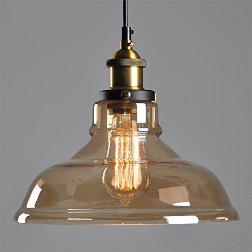 Decke transparenten Glasschirm Kronleuchter Retro Fitting Shade Pendelleuchte (Schraubsockel E27,gerade Lampenschirm,keine Glühbirnen)