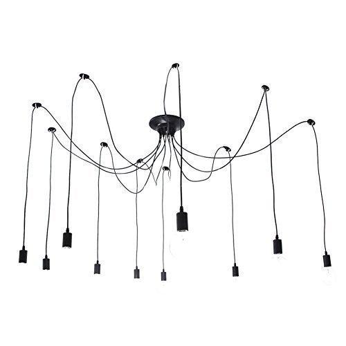 Deckenleuchte Pendelleuchte Kronleuchter E27 10 Lichter klassische Edison Antik Birne Vintage Industrie Retro Metallschirm Cafe Bar Küche Spider Lampe Schwarz