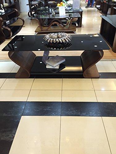 Designer-Couchtisch aus Holz mit schwarzem Glas