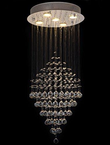 Ella Fashion ® Modern Kristall Deckenleuchte Kronleuchter Lüster LED Beleuchtung Rain Drop Light Deckenlampe Pendelleuchte Lampe für Wohnzimmer Esstisch Studie Kinderzimmer, Foyer D16 X H35 Zoll