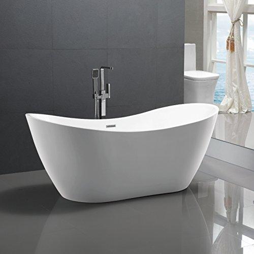 Freistehende Badewanne Bremen 180x80cm Sanitäracryl Weiß Modern ohne Armatur