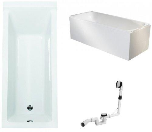 Galdem Badewannen Set GABWSET123WT, 180 x 80 cm, hochwertiges Wannen komplett SET bestehend aus einer rechteck Acryl Design Badewanne, Wannenträger aus Styropor so
