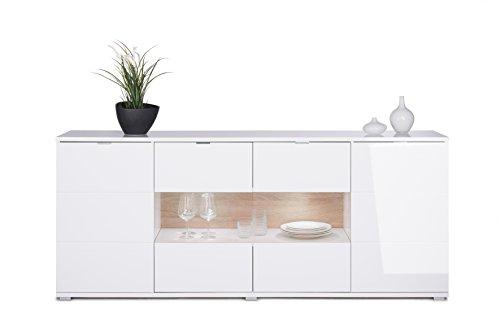 HIGHGLOSS Sideboard in weiß hochglanz : 200 x 85 x 40 mit 2 Türen, 2 Türen mit Glaseinlage, 2 schmalen und 2 breiten Einlegeböden inklusiv LED Beleuchtung