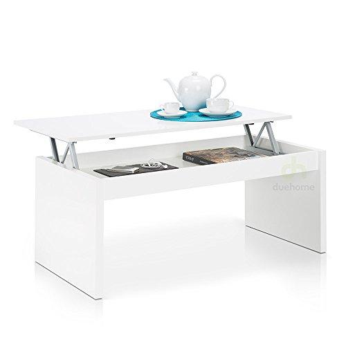 Habitdesign 001638BO Moderner Couchtisch mit höhenverstellbarer Platte in Weiß