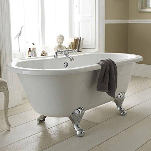 Hudson Reed Freistehende Badewanne Wanne Standbadewanne mit Füßen - 1500 x 650 mm - Acryl Weiß