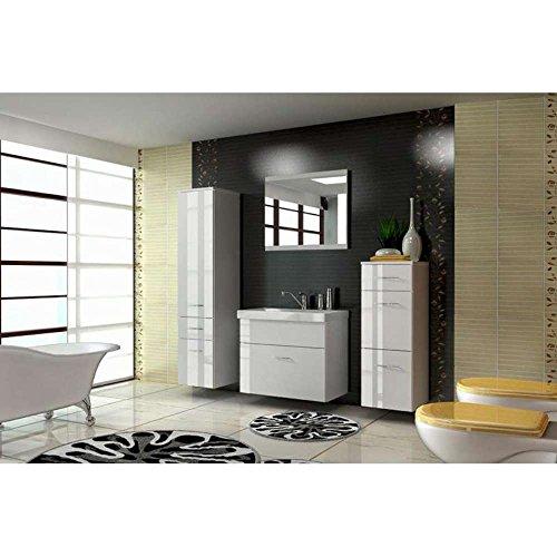 JUSThome EVA STANDARD Badezimmerset Badmöbelset Waschplatz (4-teilig) Farbe: Weiß Hochglanz