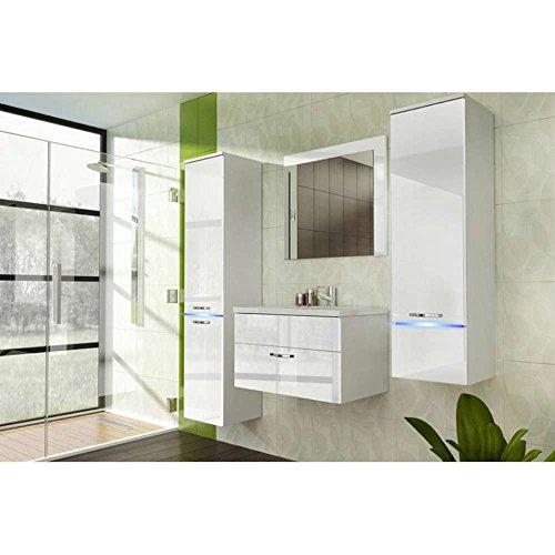 JUSThome Laguna Badezimmerset Badmöbelset Waschplatz (4-teilig) Farbe: Weiß Matt / Weiß Hochglanz
