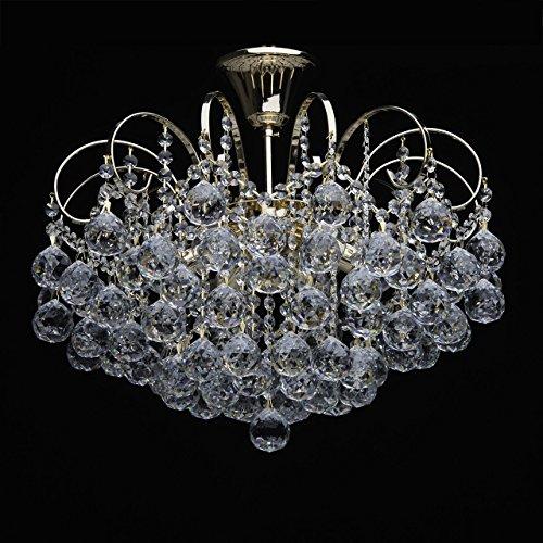Kaskade Kristall klar Kronleuchter goldfarbig 6-flammig für Wohnzimmer 6*60W E14