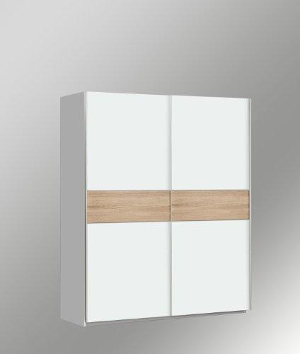 Kleiderschrank Schwebetürenschrank Schiebetürenschrank ca. 150 cm breit in Weiss / Eiche Sägerau Dekor mit Wendeplatte