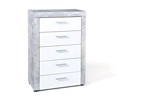 Kommode in weiß/hellgrau, KF-Board/Melaminbeschichtet, 5 Schubladen