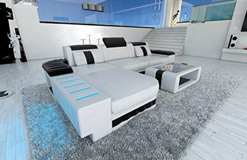 ledersofa bellagio l form mit led beleuchtung weiss schwarz m bel24. Black Bedroom Furniture Sets. Home Design Ideas