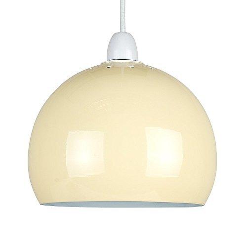 """MiniSun - Mini kuppelförmiger, gläziger, creme """"Arco"""" Lampenschirm für Hänge- und Pendelleuchten im coolen Retrostil"""