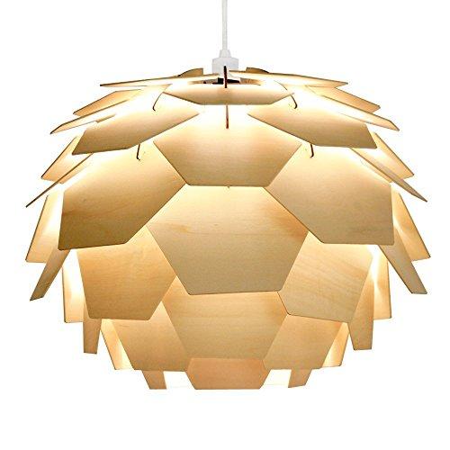 MiniSun - Moderner Lampenschirm aus Holz in Form der Artischocke und im Designerstil - für Hänge- und Pendelleuchte