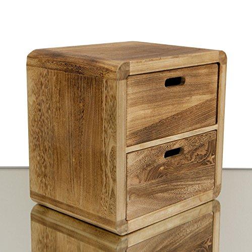 NEG Schubladenschrank VINUJA (naturbraun) 3-tlg. Nachttisch/Teetisch/Kommode aus Echtholz (44/36/28x35cm)