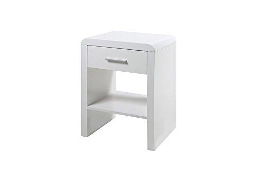 Nachttisch, Hochglanz-weiß lackiert, 1 Schubkasten, Maße: B/H/T ca. 45/59/35 cm