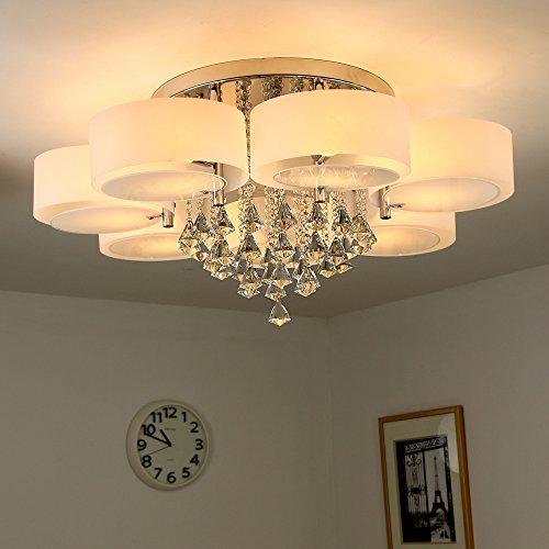 Natsen® Kristall Deckenleuchte 7-flammig Designer Wohnzimm Lampe LED E27 Ø90cm