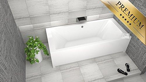 PREMIUM Rechteck Badewanne Acryl BORNEO 170x70 cm mit Schürze - Füßen, Ablaufgarnitur, Silikon GRATIS