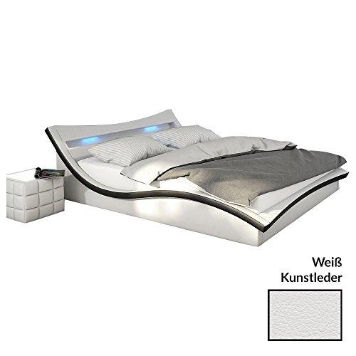 polster bett 180x200 cm wei schwarz aus kunstleder mit led beleuchtung magari das kunst. Black Bedroom Furniture Sets. Home Design Ideas