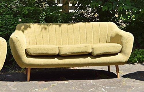 Retro Sofa Azure 3-Sitzer Stoff Olive