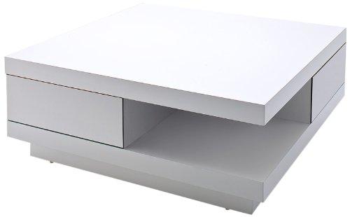 Robas Lund 58207WW4 Couchtisch Abby, 2 Schubkästen mit touch open Funktion, 85 x 85 x 30 cm, Hochglanz weiß