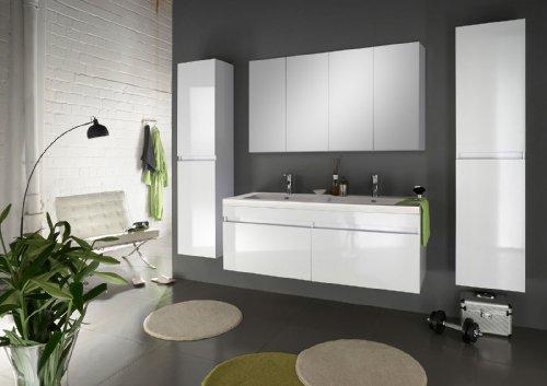 SAM® Badmöbel Parma Set 4tlg 140 cm in weiß mit Softclosefunktion 1 x Doppelwaschplatz + 1 x Spiegelschrank + 2 x Hochschrank Lieferung per Spedition zerlegt