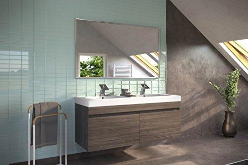 SAM® Badmöbel Set 2tlg Parma Doppelwaschplatz 140 cm in Trüffeleiche matt mit Spiegel Waschplatz inkl. Mineralgussbecken