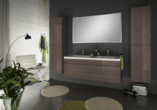 SAM® Badmöbel Set 4tlg. Parma Komplettset, Trüffeleiche matt, mit Softclosefunktion, mit Spiegel, 2 Hochschränken und einem 140 cm breitem Waschplatz