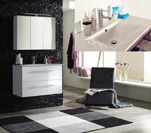 SAM® Design Badmöbel Set Basel 2 teilig in hochglanz weiß, 90 cm, exklusives Designer Badezimmer, bestehend aus 1 x Keramikbecken und 1 x Spiegelschrank