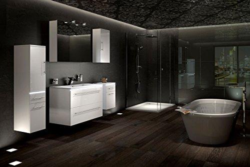 SAM® Design Badmöbel Set Davos in weiß 5 teilig Milchglasbecken schwarz (weitere mögliche Varianten: Mineralgussbecken oder weißes Milchglasbecken)